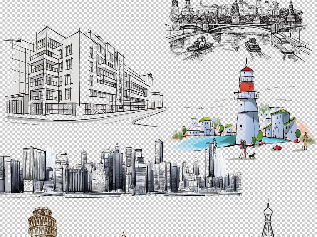 高楼大厦国外建筑旅游景点旅游建筑手绘城市城市风景
