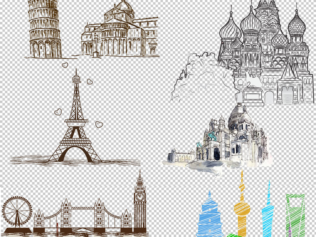 设计作品简介: 卡通彩绘城市图片海报素材 矢量图, rgb格式高清大图