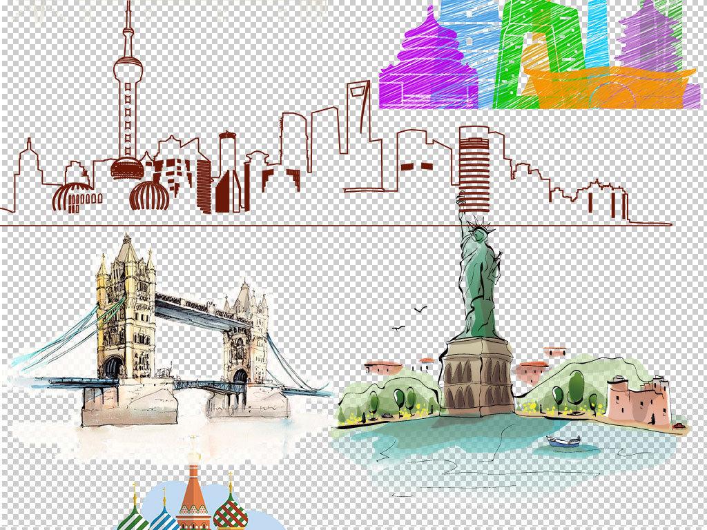 建筑手绘城市城市风景城市剪影城市标志设计元素ps海报素材我图网图库