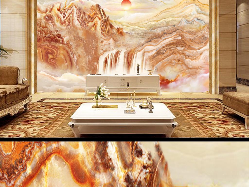 电视机背景墙屏风隔断门厅挂画壁画形象墙中堂画装饰