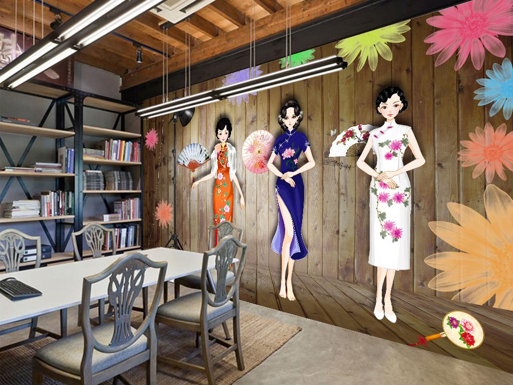 手绘风旗袍秀服装展示工装背景墙