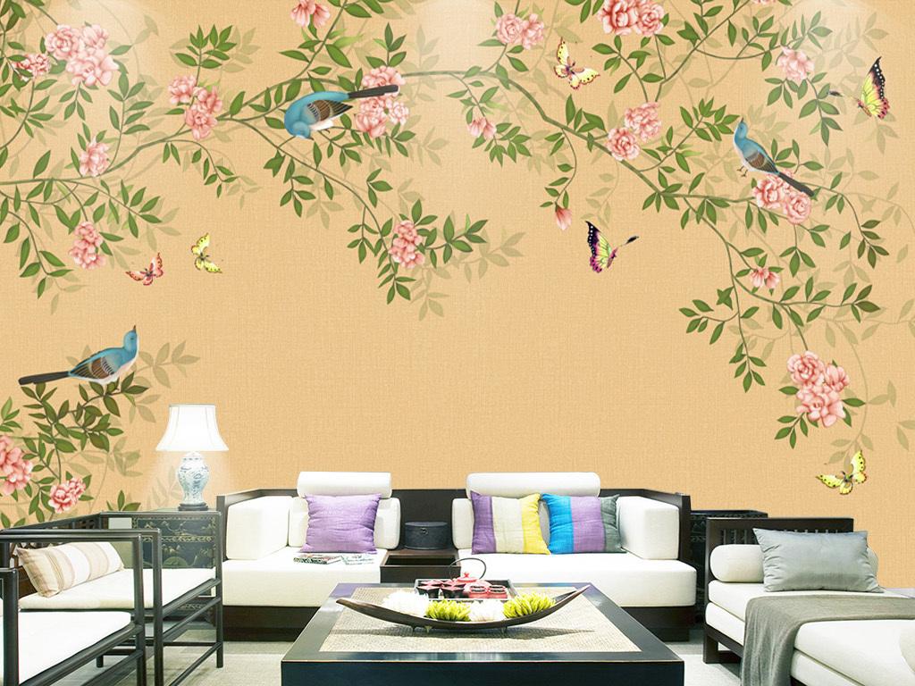 新中式手绘花鸟背景壁画装饰画
