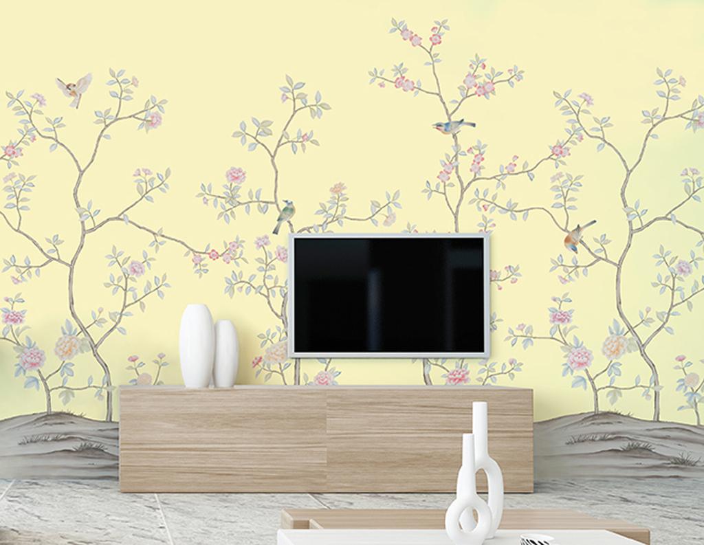 新中式手绘工笔花鸟电视背景墙