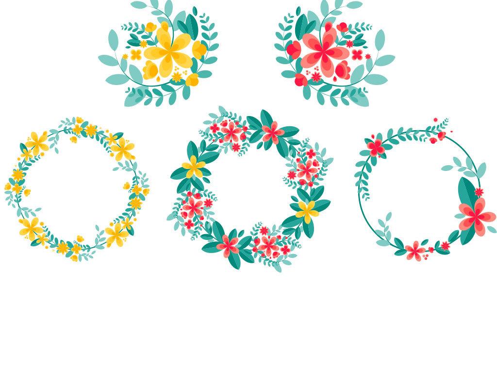 卡通鲜花花环背景素材图
