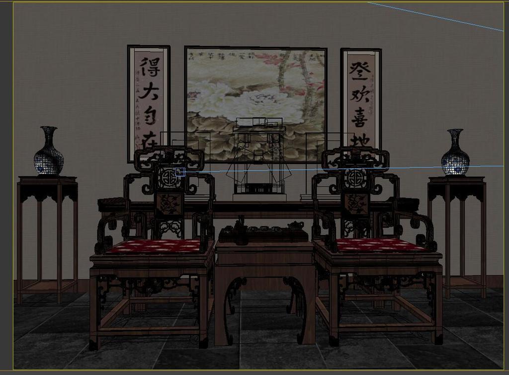 3d中式室内中式家具太师椅民国照相模型