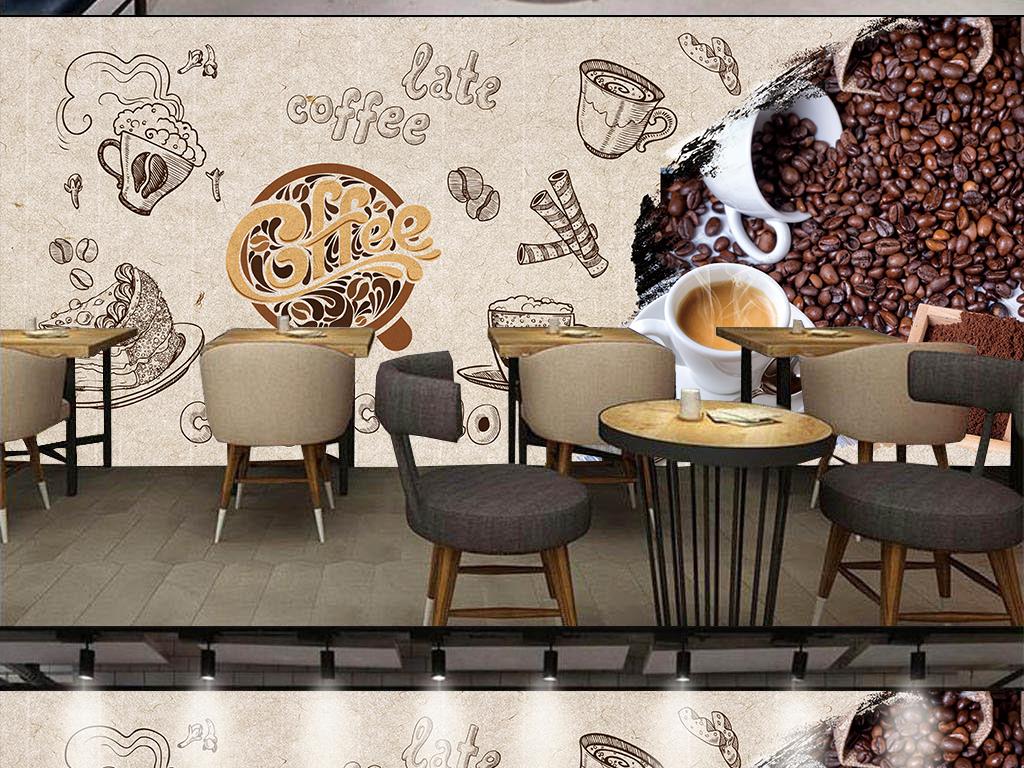 手绘复古咖啡厅背景墙图片