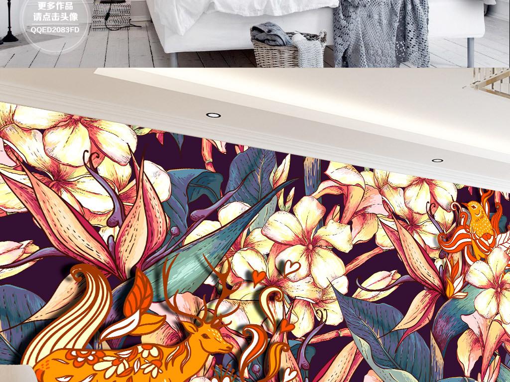 手绘人物手绘墙手绘背景墙手绘背景鲜花鲜花背景鹿角花鹿装饰画背景