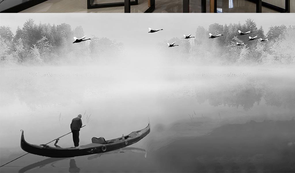 中式水墨意境抽象山水画背景墙图片