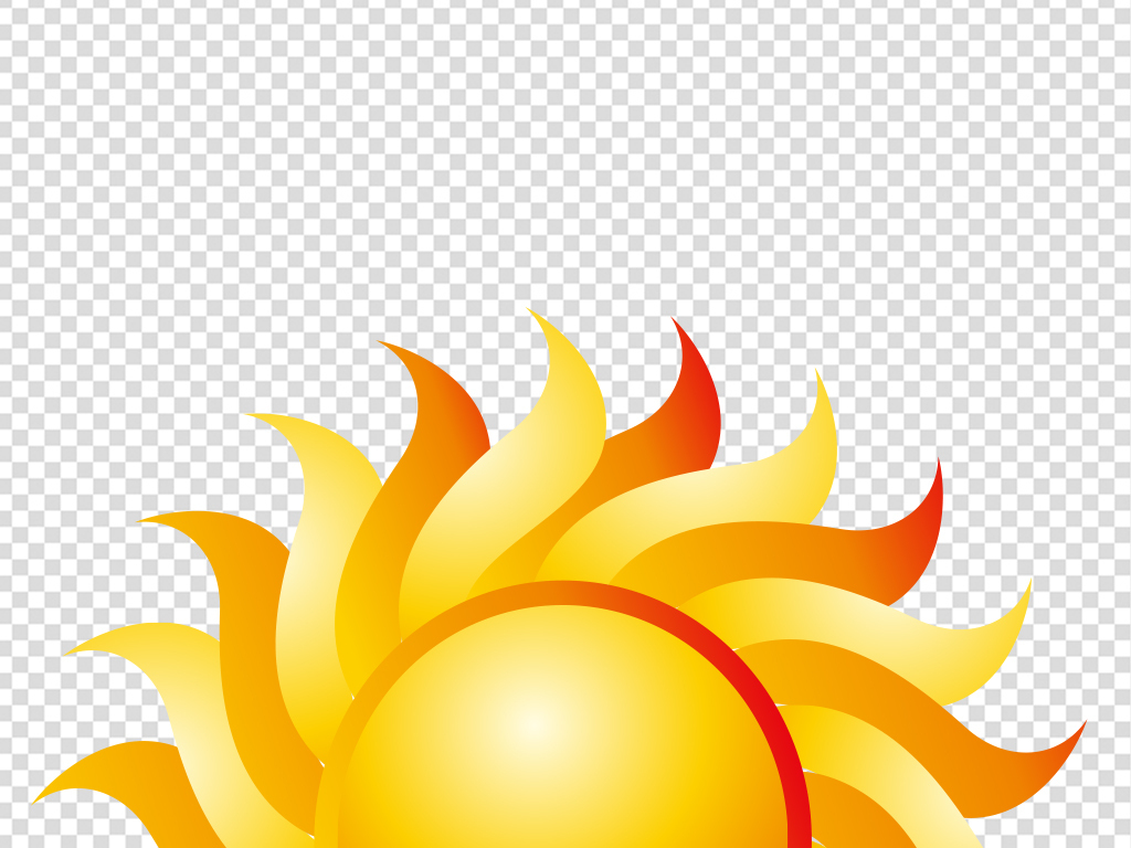 卡通手绘曲线光太阳