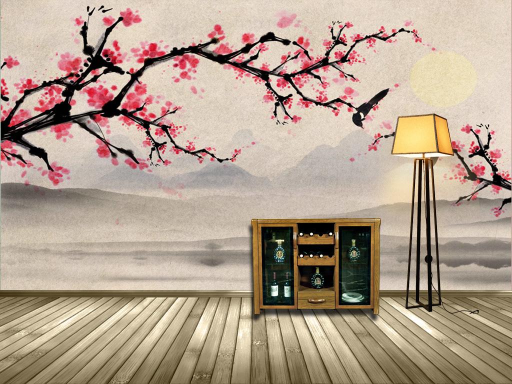 新中式手绘梅花背景软装壁画装饰