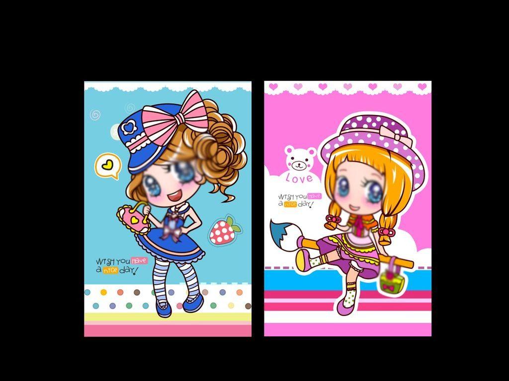 卡通形象卡通可爱书签草莓女孩卡通小女孩时尚女孩卡