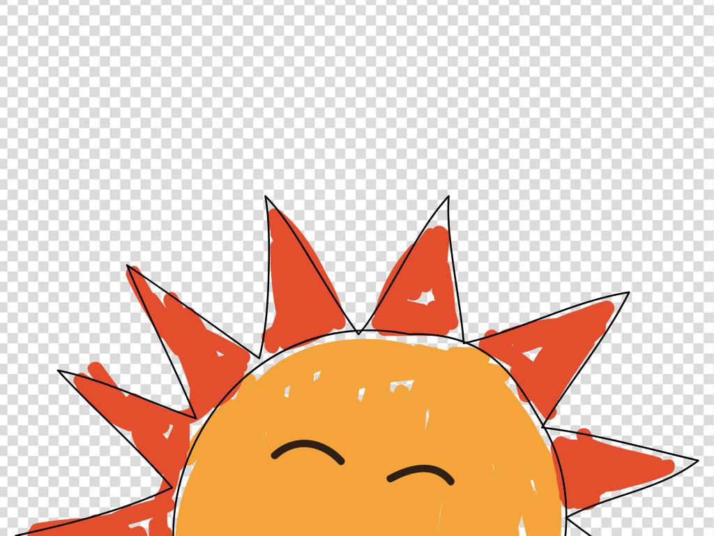 卡通简笔画手绘微笑太阳
