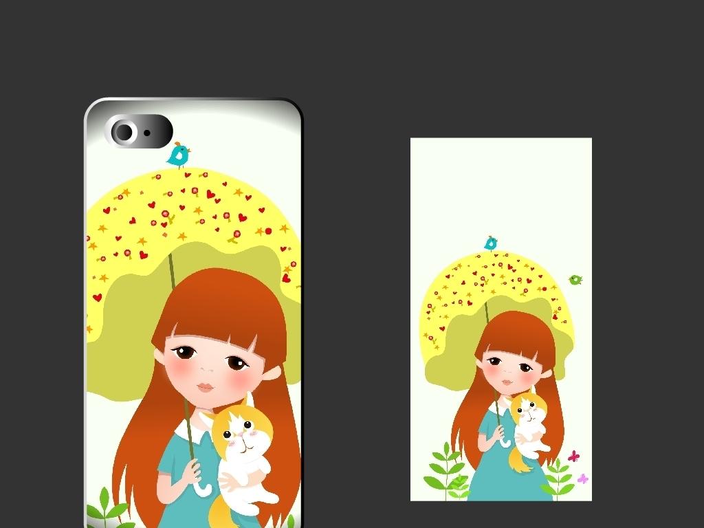 创意手机壳卡通女孩和猫打伞