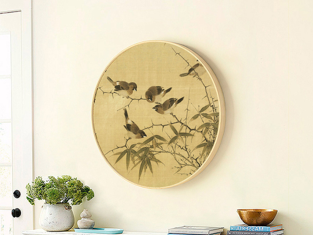 霜篠寒雏图现代新中式实木正圆形花鸟写意画图片