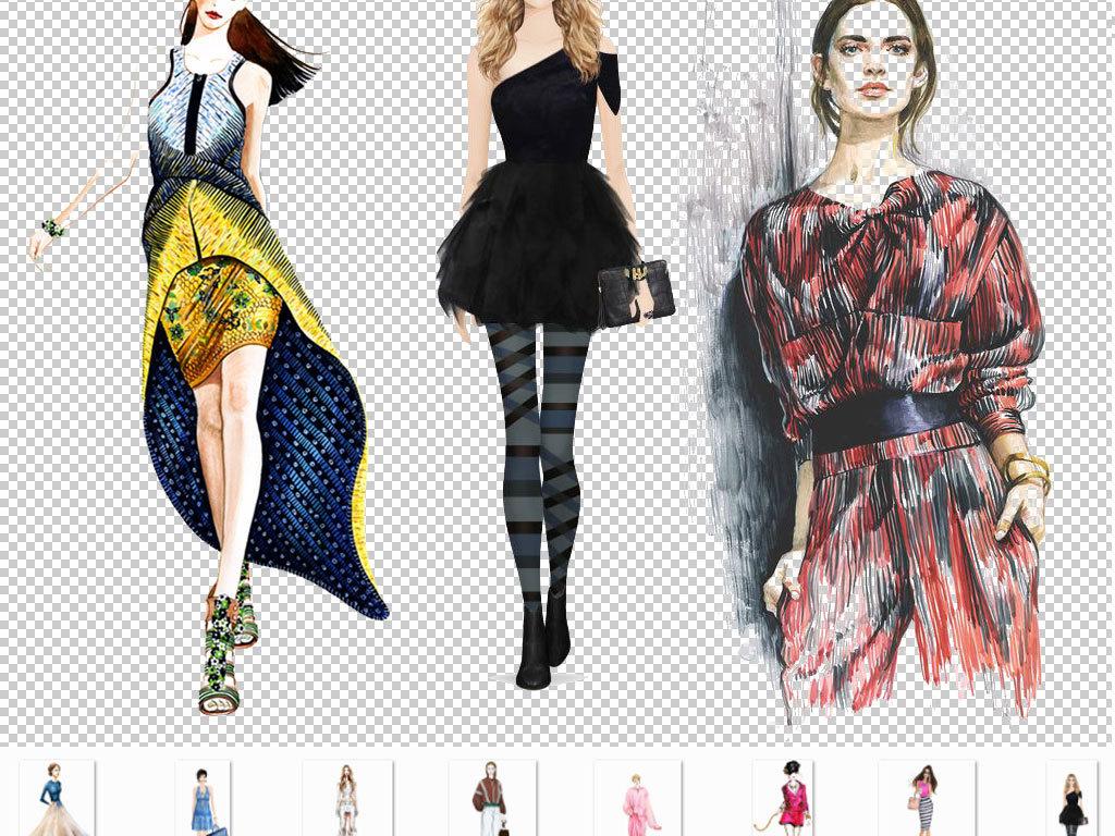 卡通手绘美女模特服装人物设计