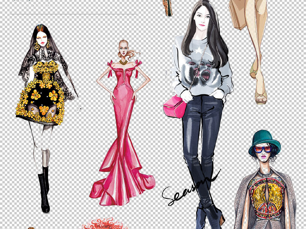 手绘美女模特服装设计素材下载
