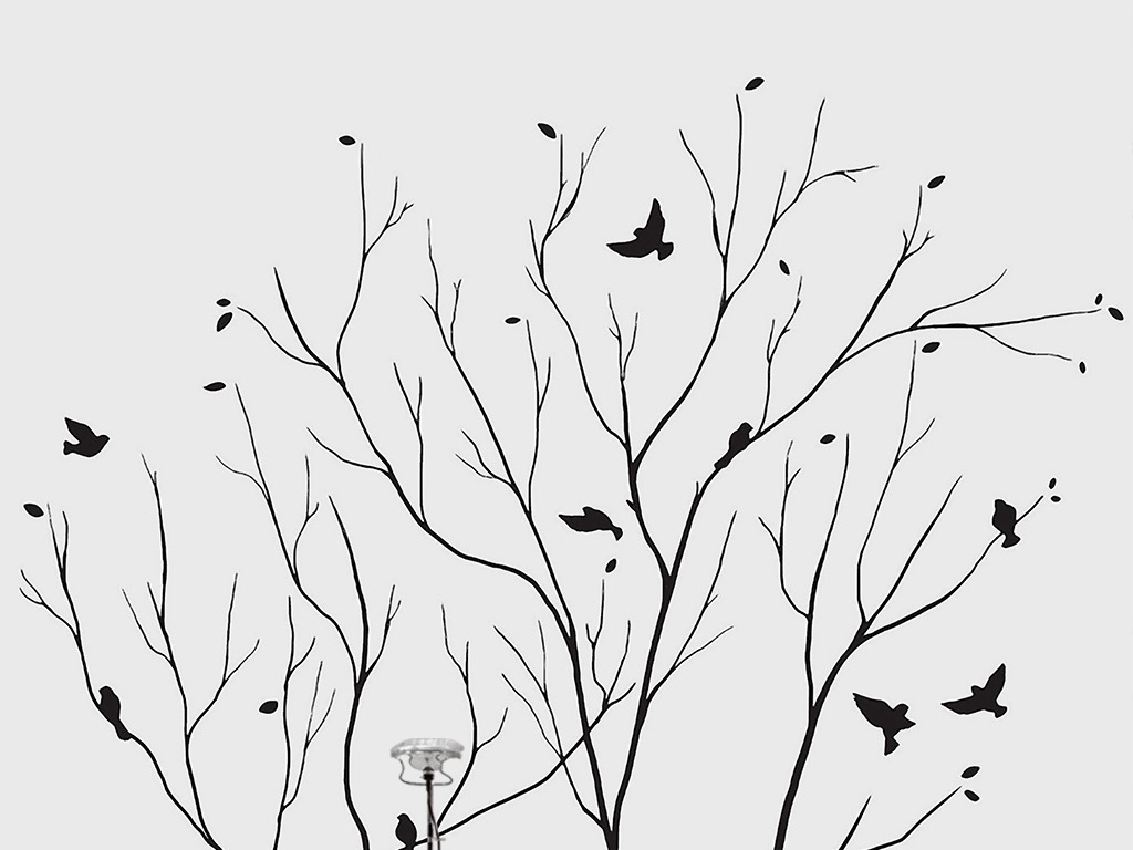 手绘陶瓷抽象淡雅简约抽象树树木树林大树黑白树小鸟韩国韩文英文字母