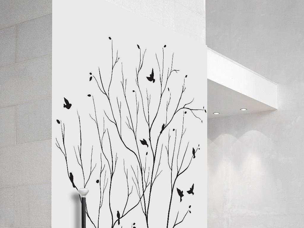 简约黑白树枝小鸟背景墙