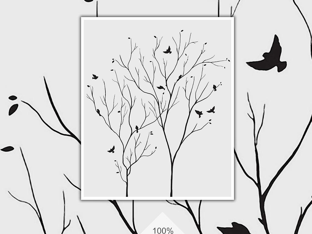 黑白树小鸟韩国韩文英文字母枯树冬季冬天线条树枝黑白树枝小鸟黑白背