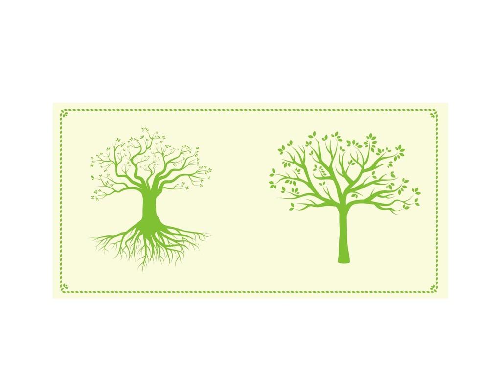小树林树木手绘板报树木素材个性卡通素材树木个性字