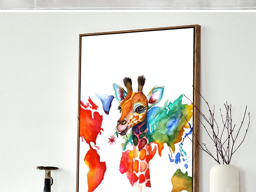 背景墙|装饰画 无框画 动物图案无框画 > 47北欧欧美装饰画长颈鹿世界