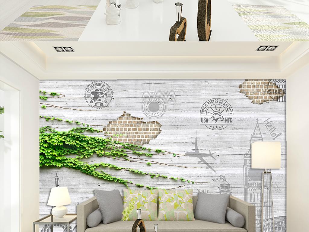 埃菲尔铁塔复古木板分层大图浮雕画木板条纹壁纸壁画墙纸建筑电视背景
