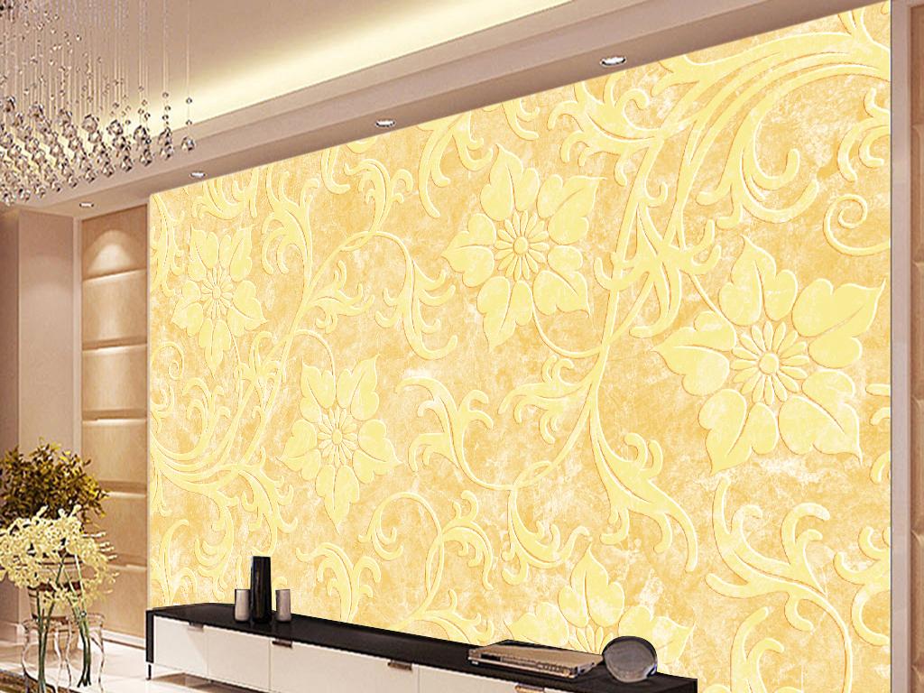 大理石纹欧式花朵电视背景墙