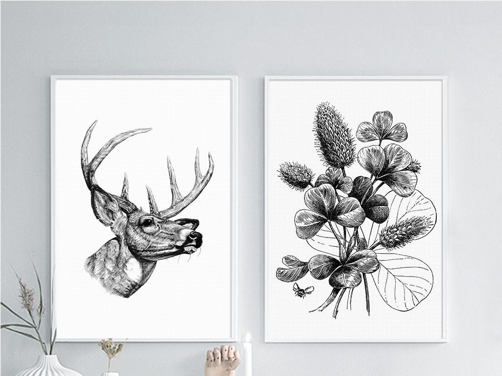 两联黑白简约线条鹿头花卉时尚北欧无框画图片