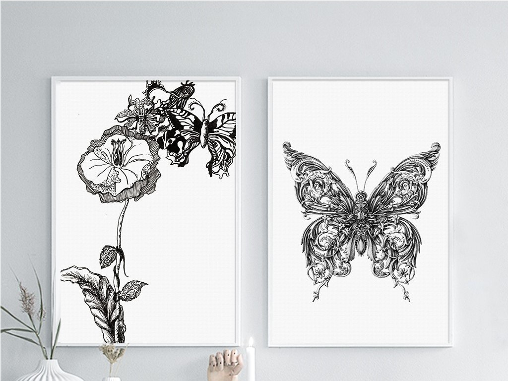 两联黑白简约线条花朵蝴蝶北欧无框画图片