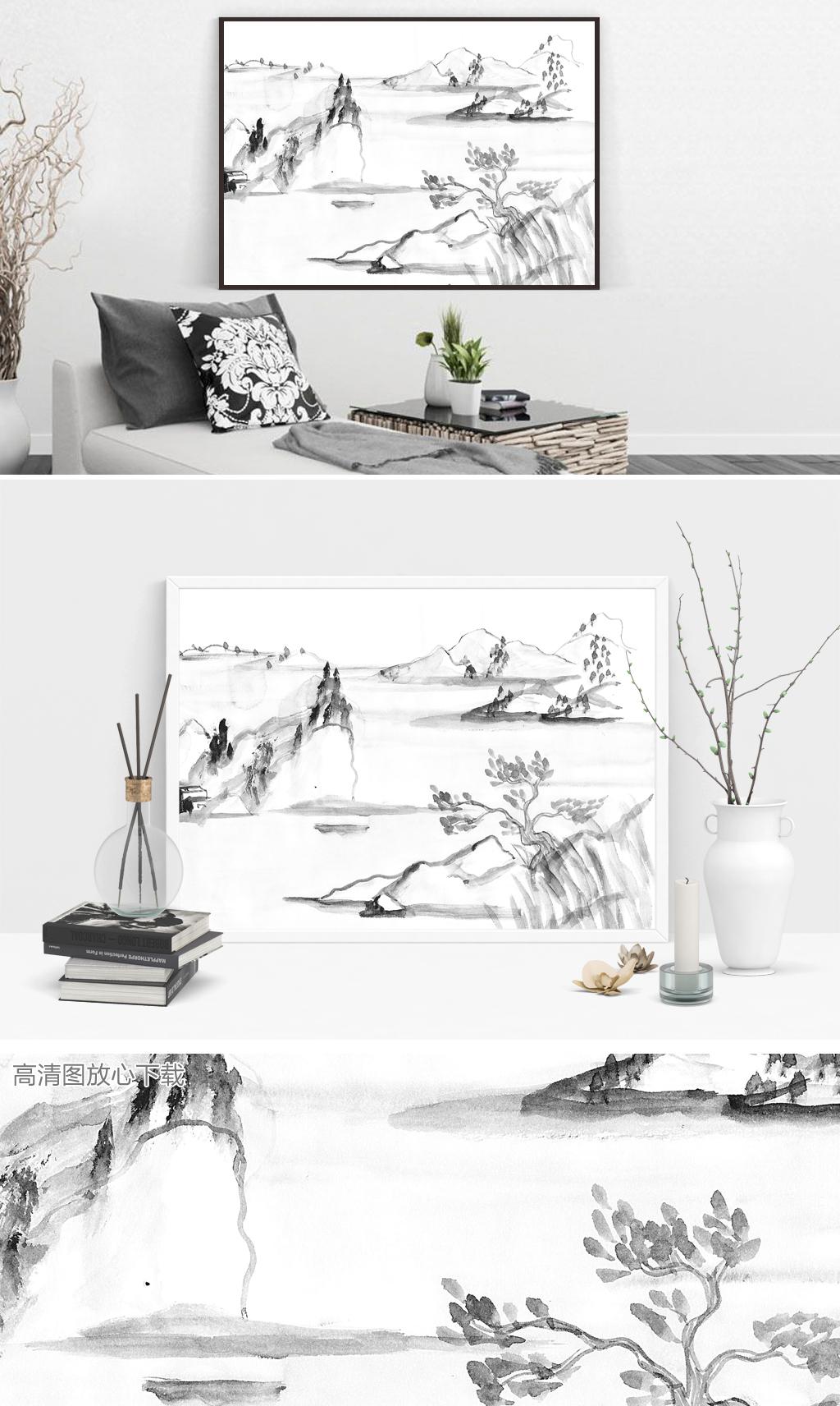 202中国风黑白装饰画下载山水画简约