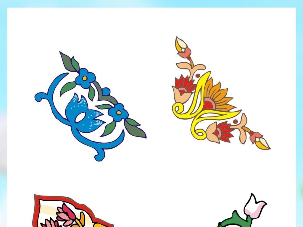 花边花角角边花中式雕刻边框中式花纹底纹古典边框素材雕刻剪影中式