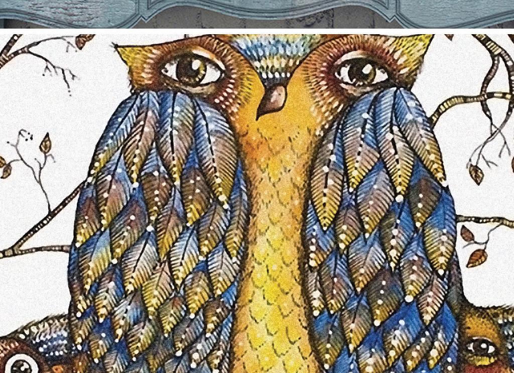 无框画 动物图案无框画 > 232北欧抽象动物猫头鹰装饰画卡通唯美鱼  0
