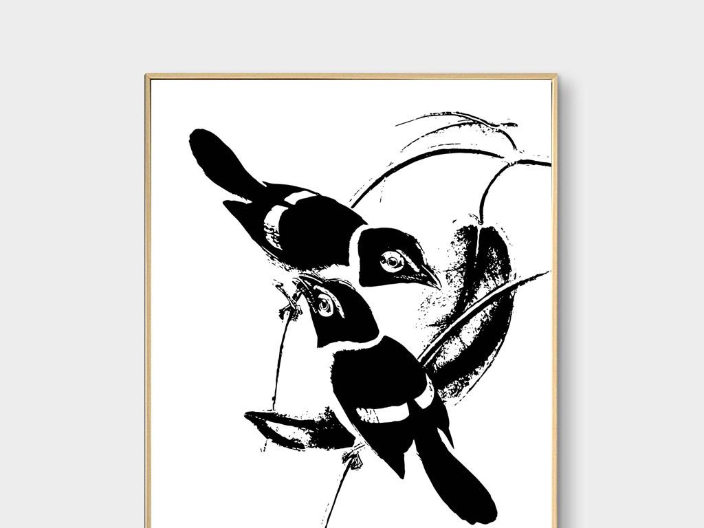 新中式黑白树枝花鸟无框画