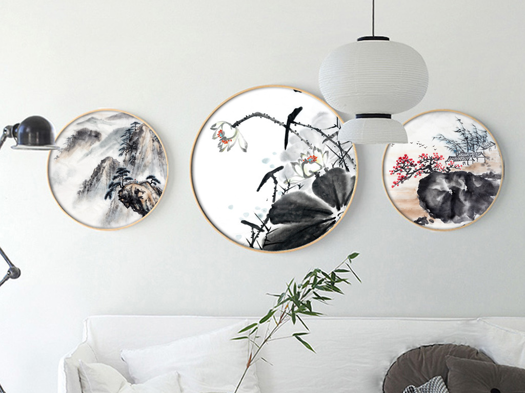 新中式水墨写意风荷韵山水圆形装饰画图片