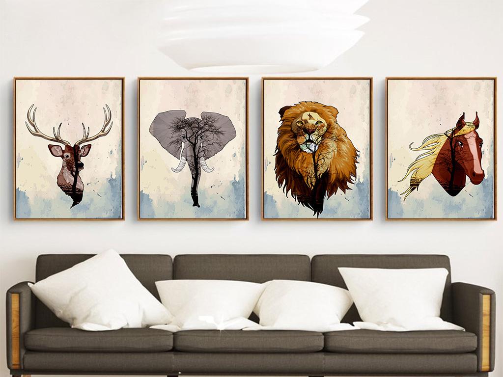 北欧简约抽象动物无框装饰画