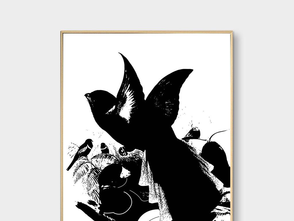 新中式黑白花鸟无框画