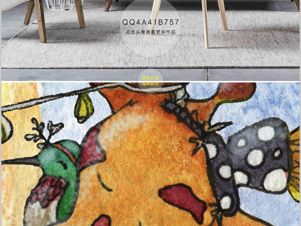 欧式手绘唯美水彩动物电视背景墙装饰画