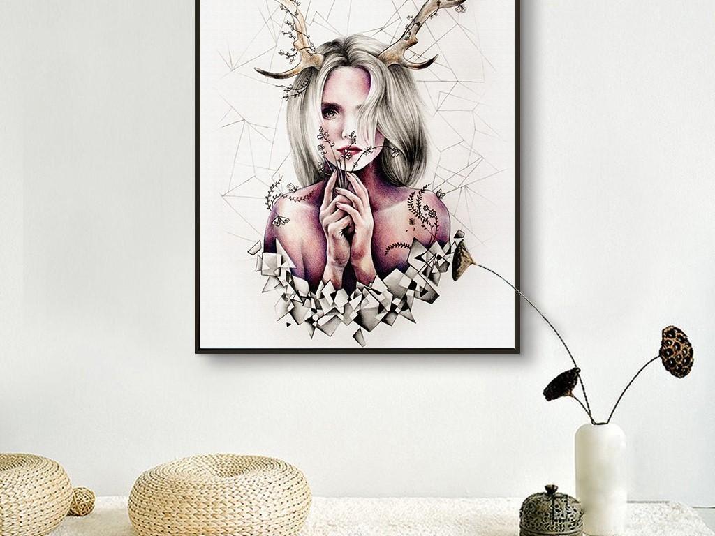 背景墙|装饰画 无框画 人物无框画 > 长鹿角的美女插画时尚简约线条无