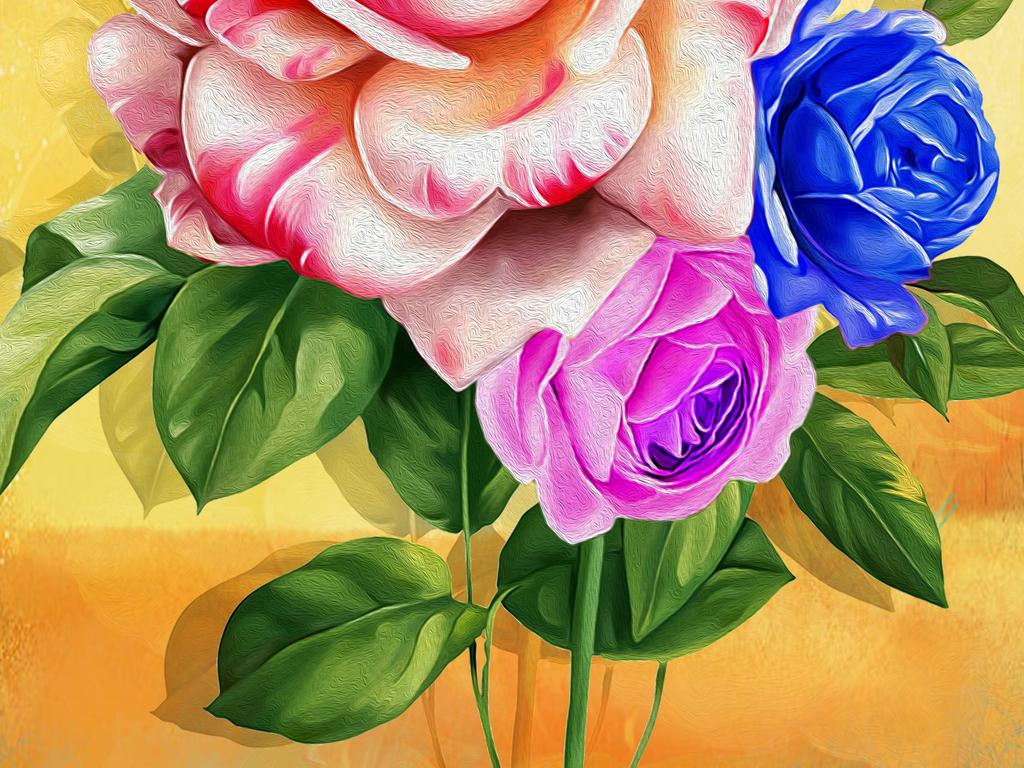 彩色玫瑰手绘