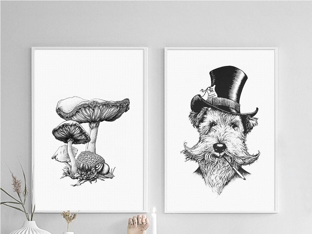 二联黑白线条戴帽子的狗和蘑菇北欧无框画