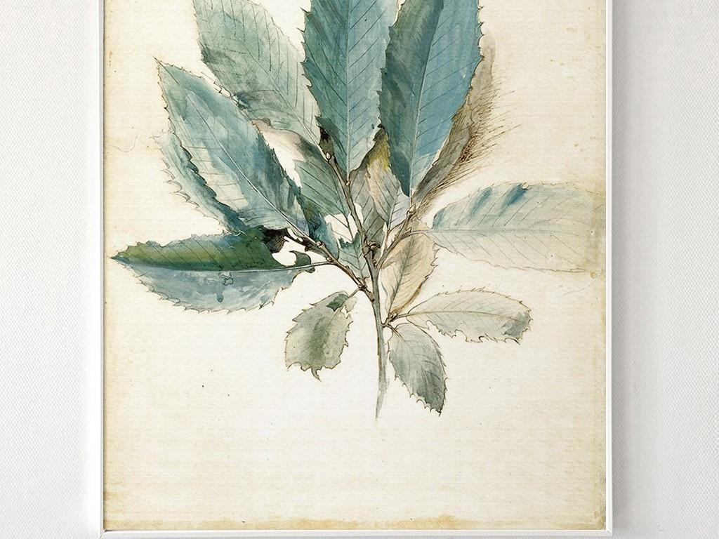 简约手绘水彩风格绿色树叶北欧无框画