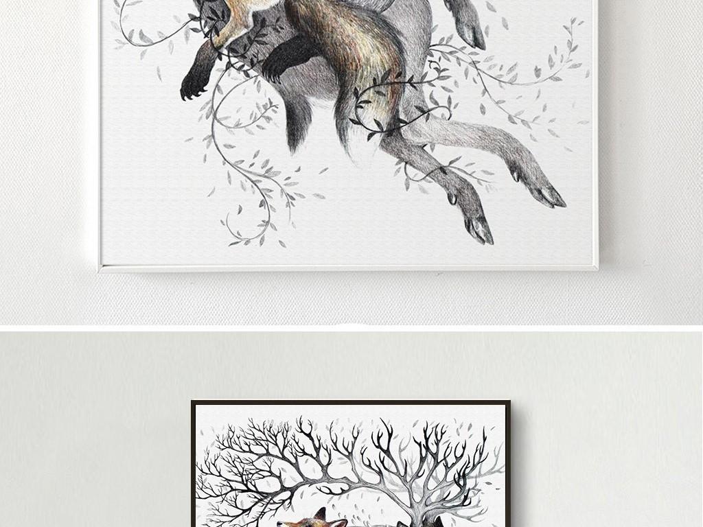 创意时尚插画麋鹿狐狸动物无框画