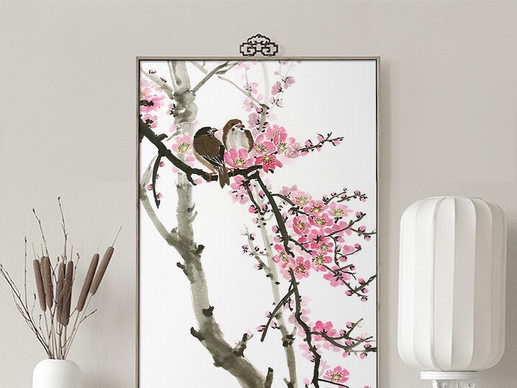 唯美粉色新中式梅花鸟儿中国风无框画图片