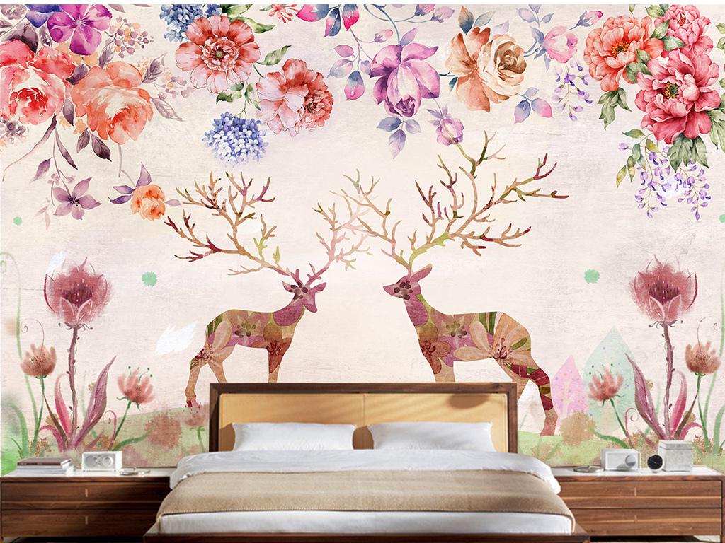 美式复古田园麋鹿电视沙发卧室背景墙壁画图片