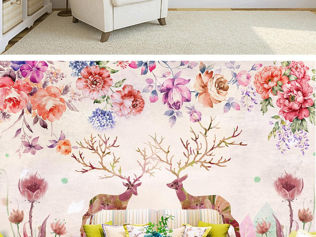 森系田园手绘花朵花卉插画粉色牡丹花麋鹿电视背景沙发复古背景沙发