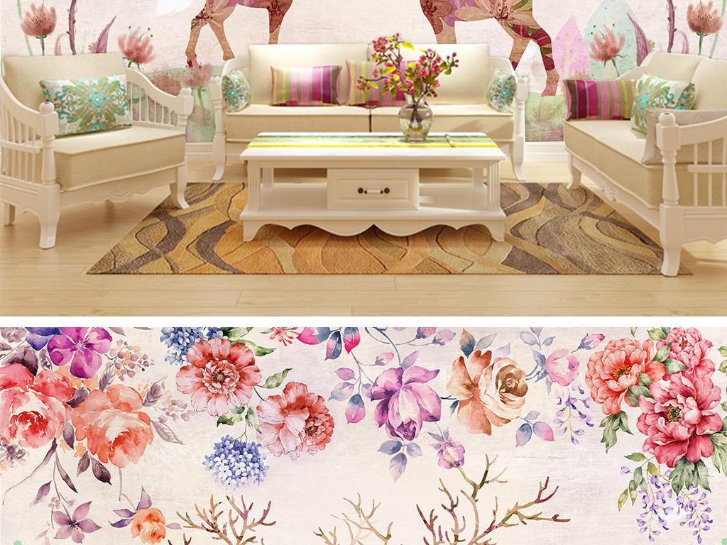玫瑰花麋鹿一家森系田园手绘花朵花卉插画粉色牡丹花麋鹿电视背景沙