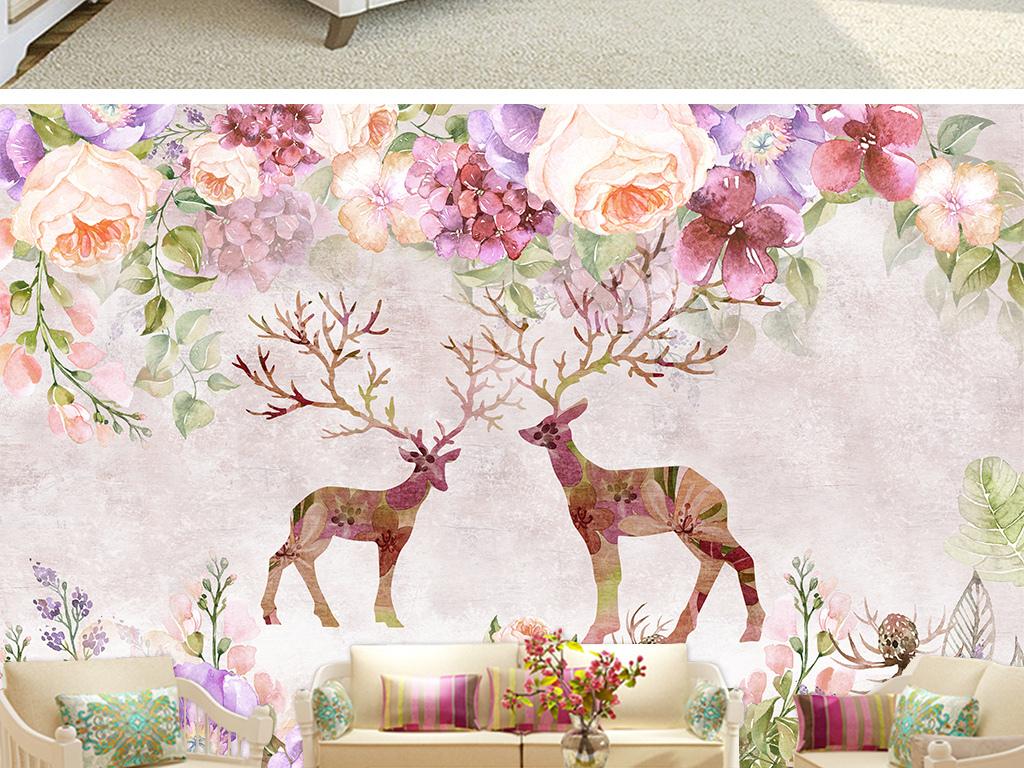 复古美式田园麋鹿电视沙发卧室背景墙壁画图片