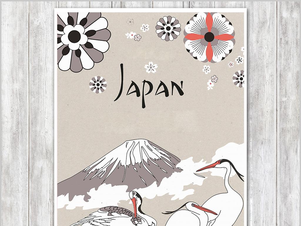 仙鹤丹顶鹤富士山工笔画手绘
