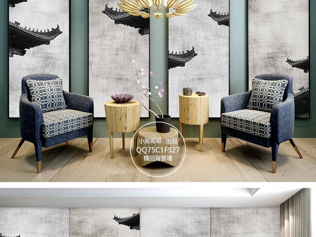 新中式中国风建筑屋檐电视背景墙装饰画图片