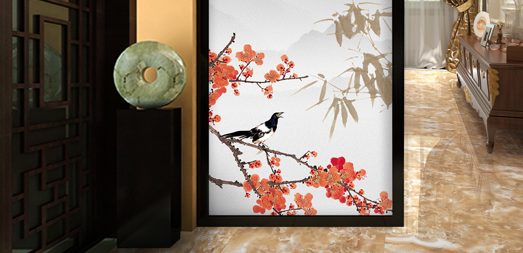新中式手绘梅花花鸟玄关背景墙装饰画图片